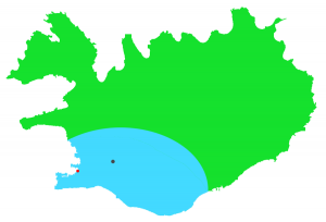 Island 2014: grau: Laugarvartn / rot: Reykjavik / blau: unsere erkundete Urlaubszone