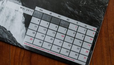 Kalendarium mit Feiertagen